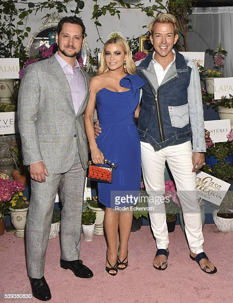 Cover models and actors Matt McGorry and Carmen Electra pose for portrait with LaPalme Magazine cofounder Derek Warburton attend the LaPalme...
