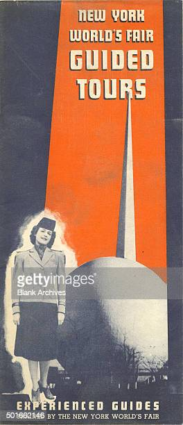 Cover of a brochure that advertises guided tours at the New York World's Fair New York New York 1940 It features a tour guide with the Trylon and...