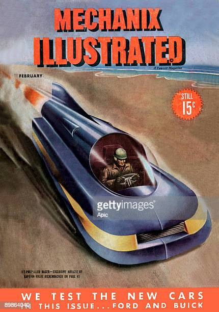 Cover of american magazine 'Mechanix Illustrated' february 1946 jet propelled racer