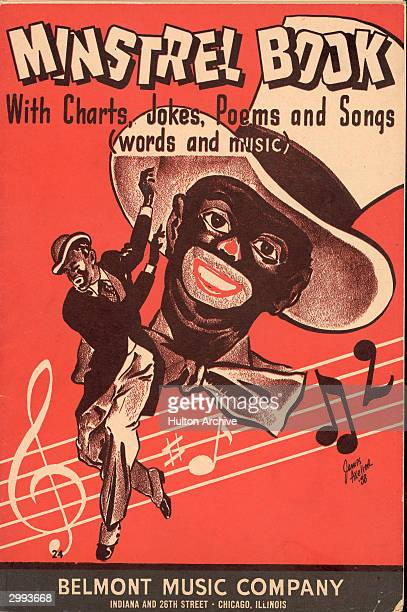 Cover of an American minstrel show song book depicting a performer dancing in costume and blackface makeup published by Belmont Music Co Chicago...