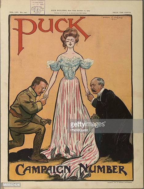 Cover of an isuues of Puck Magazine features an illustration of the female personification 'Columbia' as she stands between President Theodore...
