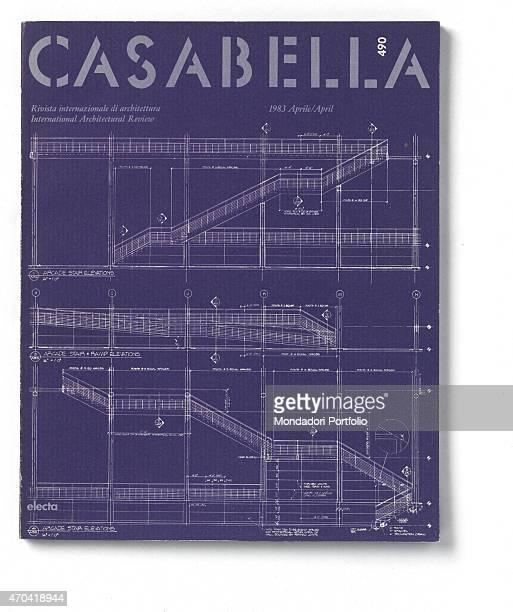 'Cover of Casabella N 490 April 1983 20th Century graphic 31 x 28 cm Italy Lombardy Milan Arnoldo Mondadori Editore Whole artwork view Light blue...