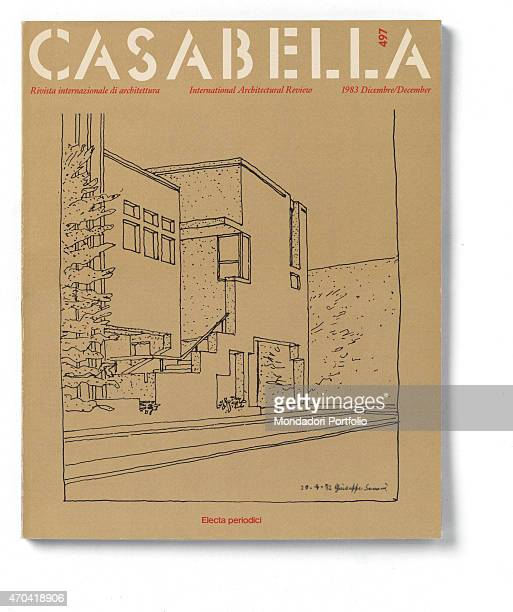 'Cover of Casabella N 497 December 1983 20th Century graphic 31 x 245 cm Italy Lombardy Milan Arnoldo Mondadori Editore Whole artwork view Red and...