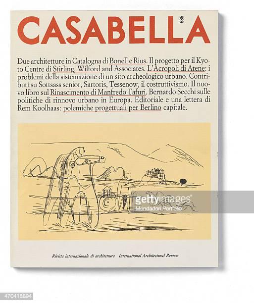 'Cover of Casabella N 585 December 1991 20th Century graphic 31 x 28 cm Italy Lombardy Milan Arnoldo Mondadori Editore Whole artwork view On a white...