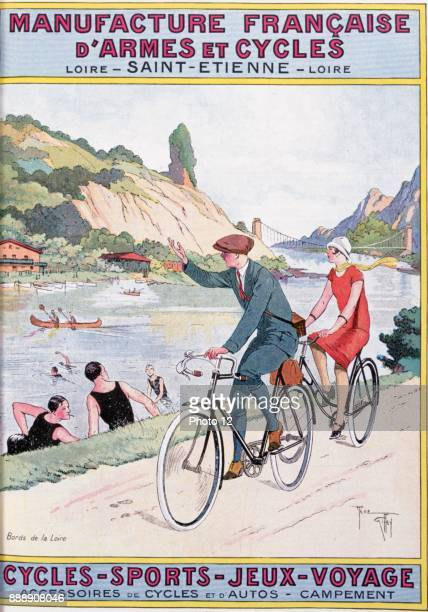 Cover of catalogue of Manufrance Saint Etienne c1920 Man and woman cycling by the river Loire waving to swimmers and canoeists Transport Recreation...