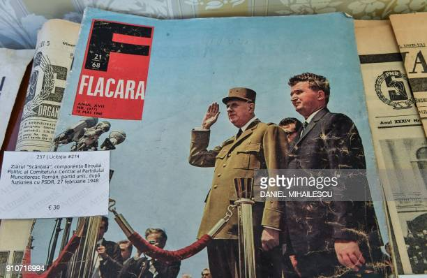 Cover of communist FLACARA magazine shows late dictator Nicolae Ceausescu and French President Charles de Gaulle is displayed at an auction house in...