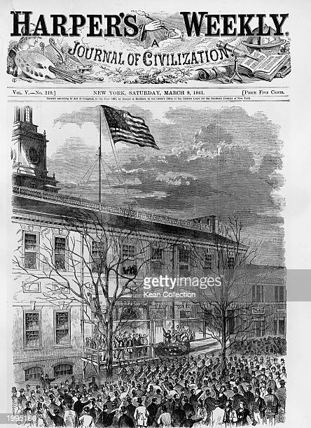 Cover of 'Harper's Weekly' showing an engraving of President Lincoln hoisting the American Flag with thirtyfour stars upon Independence Hall...