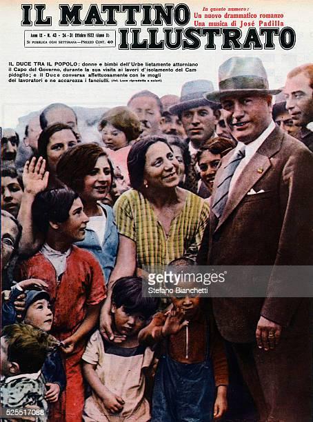 Cover of Il Mattino Illustrato featuring Italian dictator Benito Mussolini surrounded by women and children