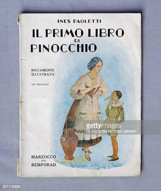 Cover of Il primo libro di Pinocchio by Ines Paoletti children's primer published by Marzocco Bemporad Italy 20th century Milan Museo Del Giocattolo...