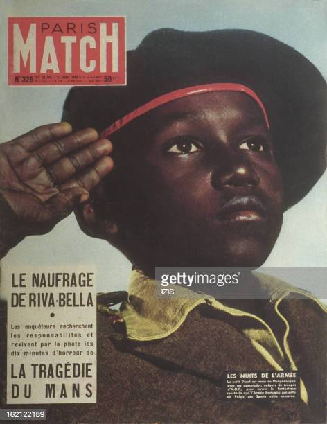 FASO 1955 cover of Paris Match Magazine N° 326 of June 25 to July 02 1955 Diouf a young soldier of the child troop in the Army of the AOF who came...