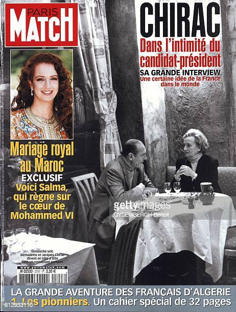 cover of Paris Match magazine with Jacques and Bernadette Chirac having diner at the restaurant Le Pere Claude in Paris on March 17 2002