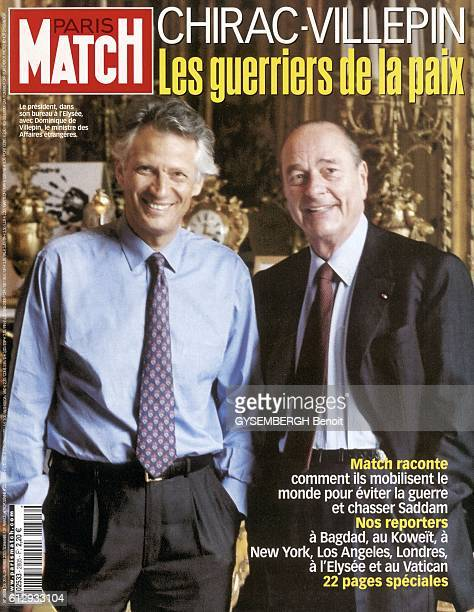 cover of Paris Match magazine with President Jacques Chirac and the minister Dominique de Villepin at the Elysee Palace on February
