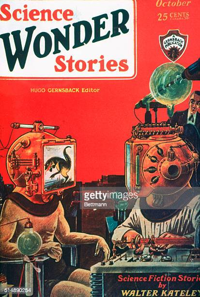 Cover of Science Wonder Stories magazine featuring the illustration Into the Subconscious by Frank R Paul The October 1929 issue edited by Hugo...