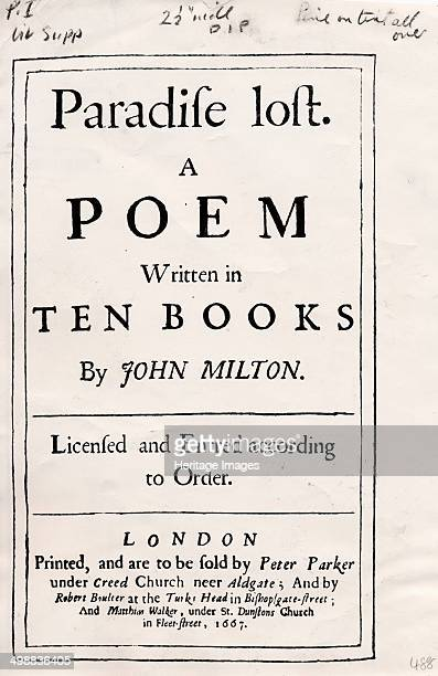 Cover of the 1st edition of the poem 'Paradise Lost' by John Milton 1661