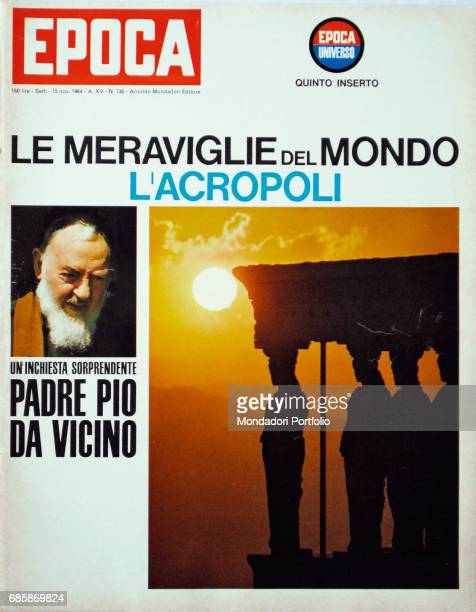 Cover of the magazine Epoca The Caryatid Porch of the Erechtheion in Athens and Pio of Pietrelcina 1964