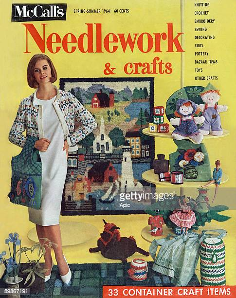 Cover of the magazine McCall s the summer of 1964 on the business of stitching and playing illsutration bag embroidery