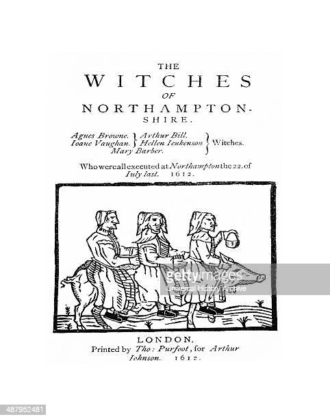 Cover of the pamphlet The Witches of Northampton showing three witches riding on a sow published after the Northamptonshire witch trials 1612 by...