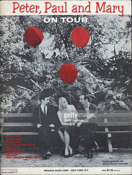 Cover of the 'Peter Paul and Mary on Tour' song book 1964 The colorized black and white photo features from left Peter Yarrow Mary Travers and Paul...