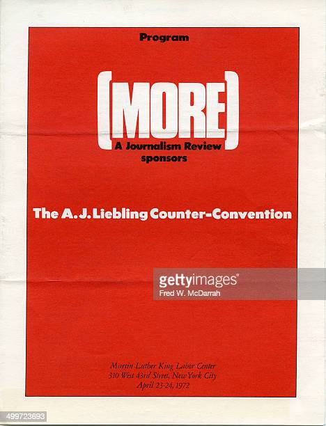 Cover of the program for the AJ Liebling CounterConvention New York New York April 23 and 24 1972 The convention named after noted media critic AJ...