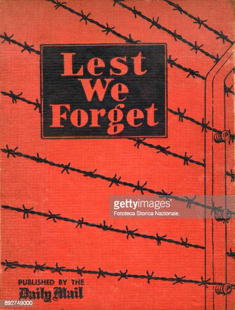 Cover of the rare volume 'Lest we forget' illustrated book containing photographic evidence on BergenBelsen concentration camp in Germany at the time...