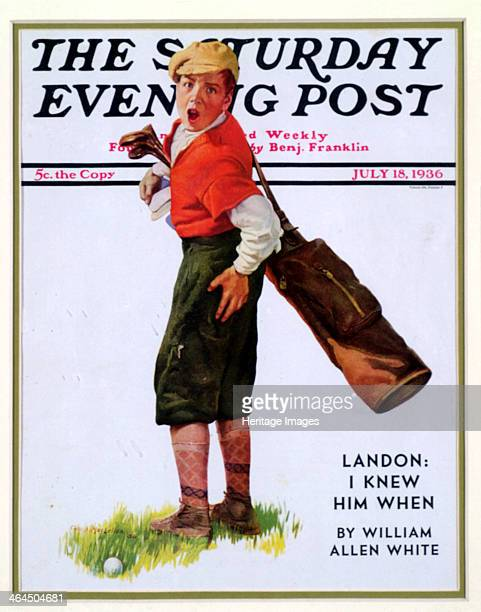 Cover of The Saturday Evening Post American 1936 The cover illustration shows a golf caddy with an outraged expression on his face having been struck...