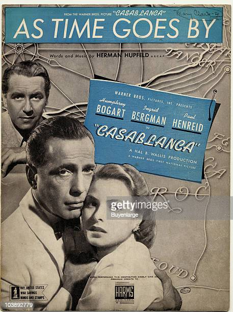 Cover of the sheet music for As Time Goes by from the movie Casablanca, shows Paul Henreid, Humphrey Bogart, and Ingrid Bergman, 1942.