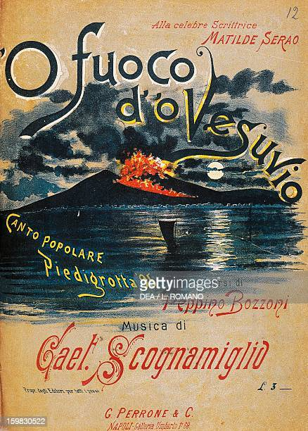 Cover of the sheet music for the song O' fuoco d' 'o Vesuvio Piedigrotta folk song music by Gaetano Scognamiglio words by Peppino Bozzoni Naples...