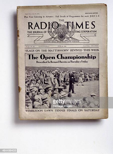 Cover of the The Radio Times 30 June 1933 Cover publicising the BBC's radio coverage of the Open Championship with events to be described by Bernard...
