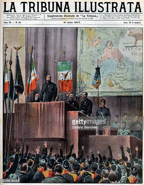Cover of the Tribuna Illustrata featuring Italian dictator Benito Mussolini speaking at the Piazza Venezia in Rome during celebrations for the tenth...