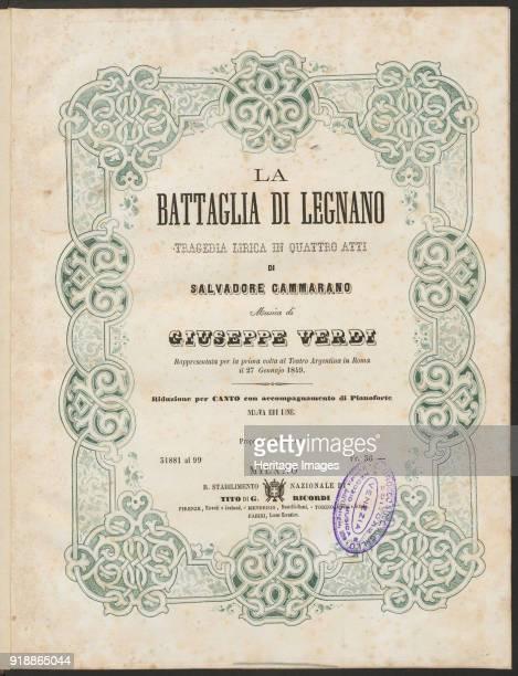 Cover of the vocal score of opera La battaglia di Legnano by Giuseppe Verdi 1860 Private Collection