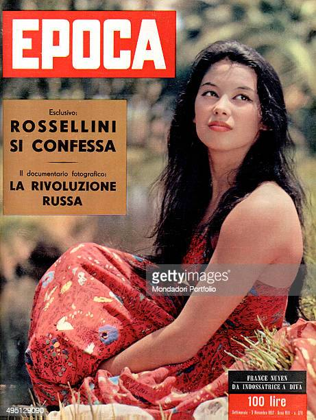 Cover of the weekly magazine Epoca with Chinese model and actress France Nuyen Italy 1957