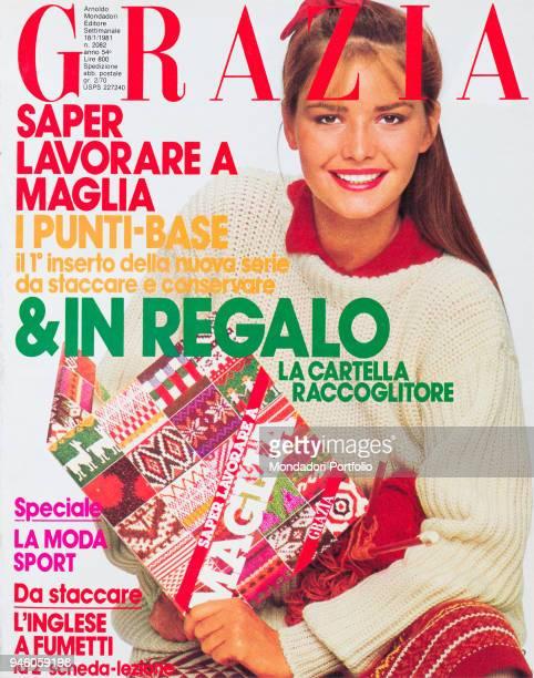Cover of the women magazine Grazia Model advertising the insert Saper lavorare a maglia with the matching portfolio for free 1981