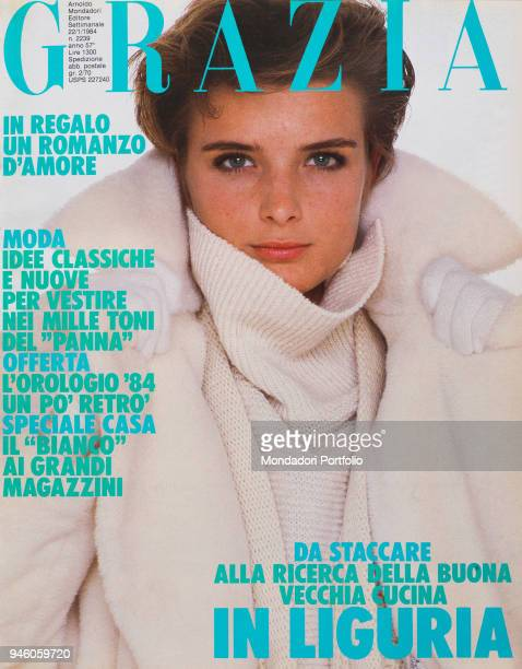 Cover of the women magazine Grazia Model wearing Sportmax clothing fluffy white cape in soft alpaca wool knitted as moquette With this a huge rough...