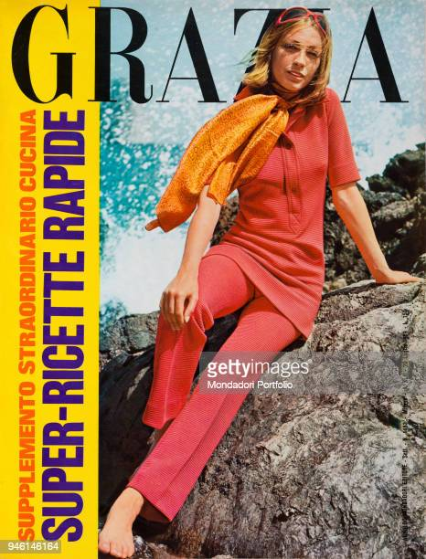 Cover of the women's magazine Grazia A model wearing a stretchy red corduroy suit by Dominique Capri Indianstyle scarf by Manoelli with red and...