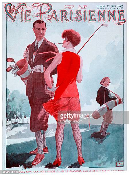 Cover of Vie Parisienne magazine French 1929 A woman golfer dressed in a striking red outfit chats to a man watched by a caddy
