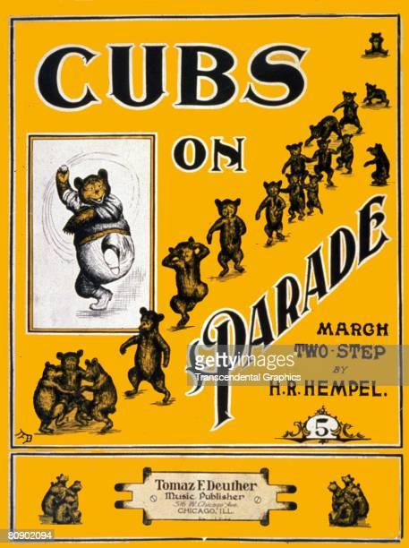 Cover page for sheet music of 'Cubs on Parade' a twostep march by H R Hempel It depicts a line of bears dancing in a line Published by the music...