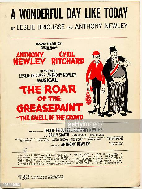 Cover page for the sheet music from the musical 'The Roar of the Greasepaint the Smell of the Crowd' by Leslie Bricusse and Anthony Newley 1965