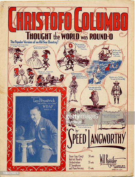 Cover page for the sheet music of 'Christofo Columbo Thought the World Was RoundO' by 'Speed' Langworthy 1924