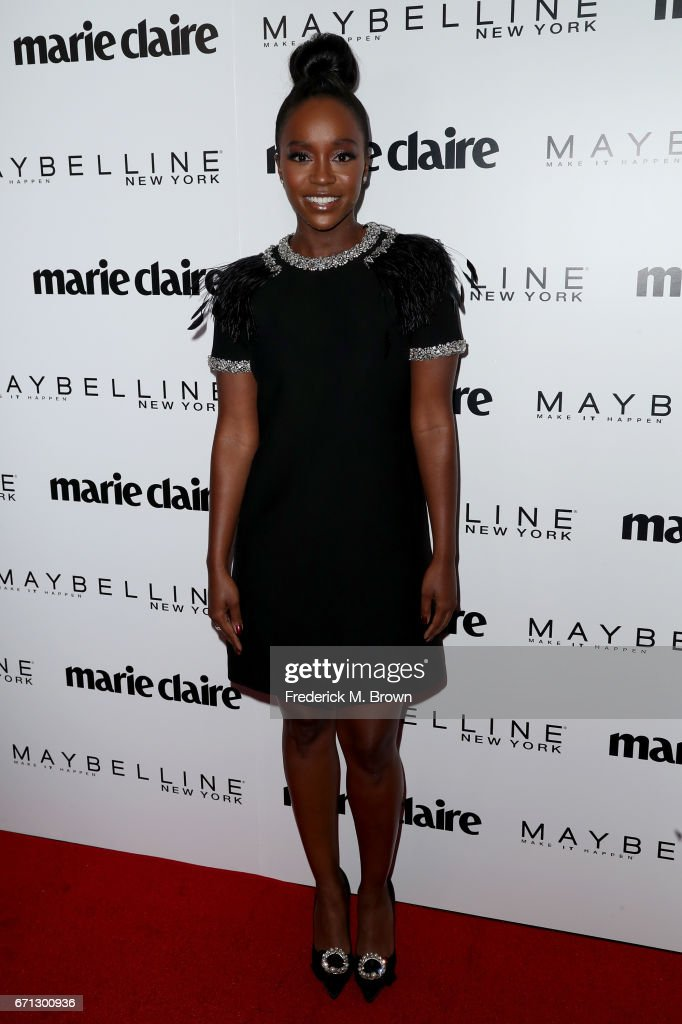 Cover star Aja Naomi King attends Marie Claire's 'Fresh Faces' celebration with an event sponsored by Maybelline at Doheny Room on April 21, 2017 in West Hollywood, California.