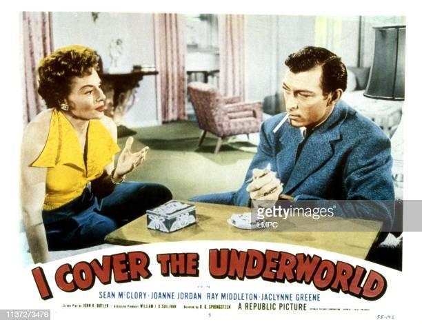 Cover The Underworld, lobbycard, from left, Jaclynne Greene, Lee Van Cleef, 1955.