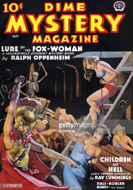 Cover to Dime Mystery Magazine from September 1938 showing women being whipped as they are chained and pulling oars in the belly of a ship A skeleton...