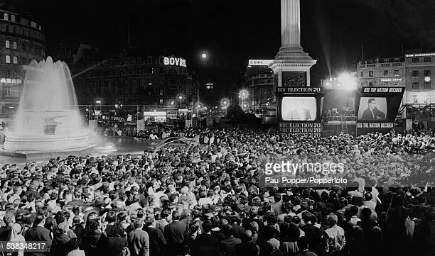 Coverage of the results of the General Election is relayed to the crowd in Trafalgar Square London 18th June 1970