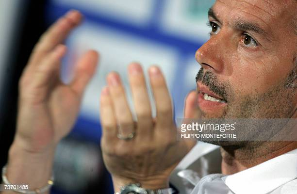 Italian football club trainer Roberto Donadoni speaks during a press conference at Coverciano training ground 26 March 2007. Italy is training prior...