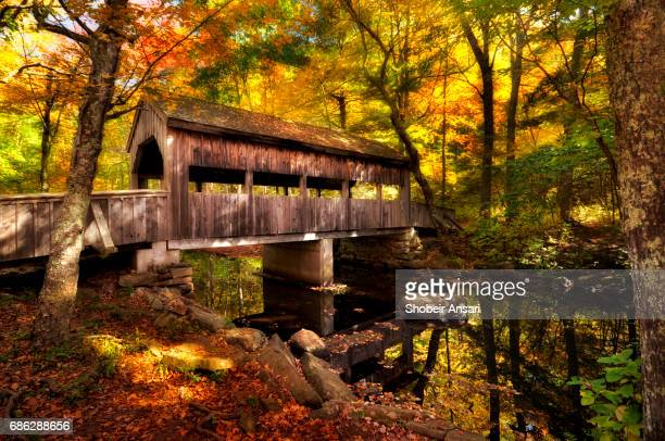 covered bridge crosses stream at devil's hopyard state park - covered bridge stock photos and pictures