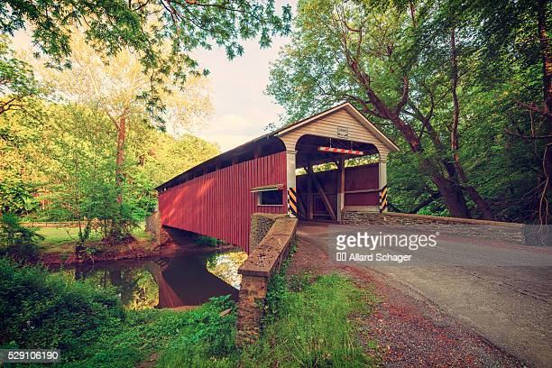 covered bridge in atglen pennsylvania - covered bridge stock photos and pictures