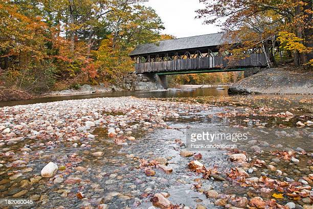 covered bridge in autumn - covered bridge stock photos and pictures