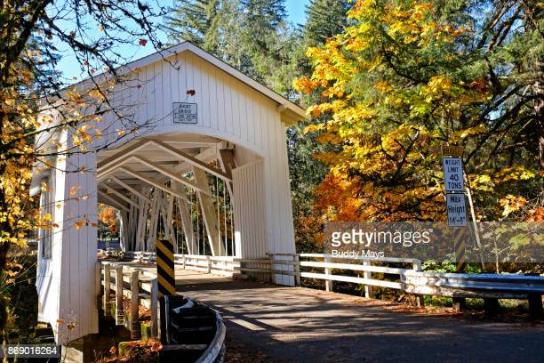 covered bridge in oregon - covered bridge stock pictures, royalty-free photos & images