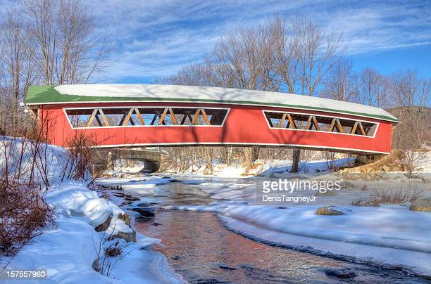 covered bridge in the white mountains national forest, new hampshire - covered bridge stock photos and pictures