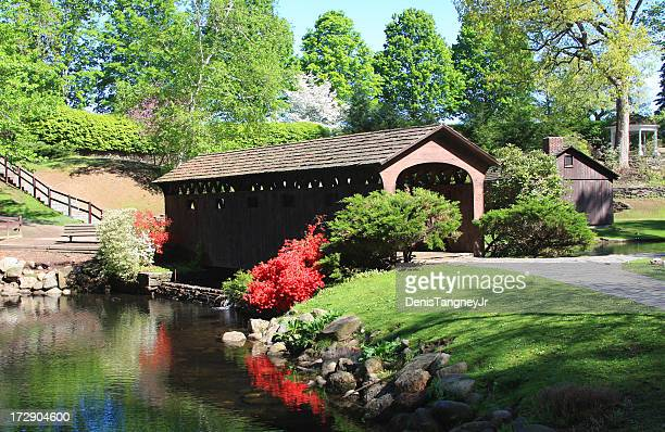 covered bridge in westfield, massachusetts - covered bridge stock photos and pictures