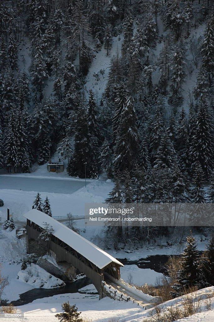 Covered bridge, near St. Moritz, Switzerland, Europe : Stock Photo